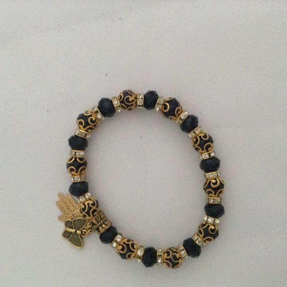 bracelet noir et or avec perle logo main de fatma et paillon pour femme maroc achat vente. Black Bedroom Furniture Sets. Home Design Ideas