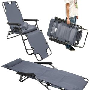 Chaise longue pliante 178x60cm dossier inclinable for Chaise longue pliante