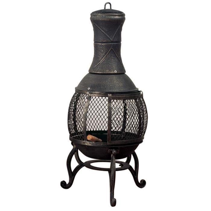 po le de terrasse jardin bras ro avec tisonnier 36x36x90cm achat vente chauffage ext rieur. Black Bedroom Furniture Sets. Home Design Ideas