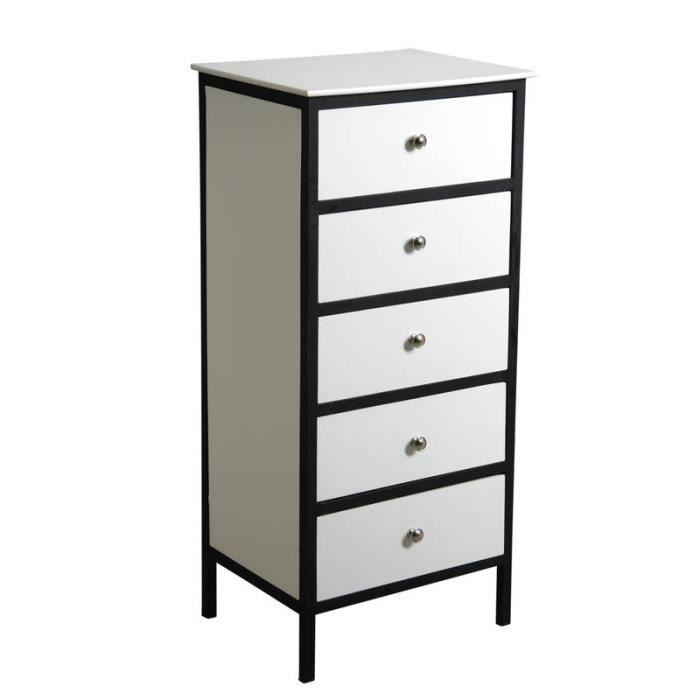commode 5 tiroirs en bois blanc et m tal achat vente commode de chambre commode 5 tiroirs en. Black Bedroom Furniture Sets. Home Design Ideas