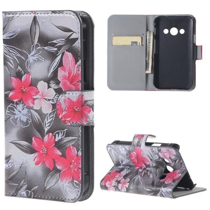 Pour Samsung Galaxy Xcover 3 (G388F) A2 Fleur Magnétique téléphone