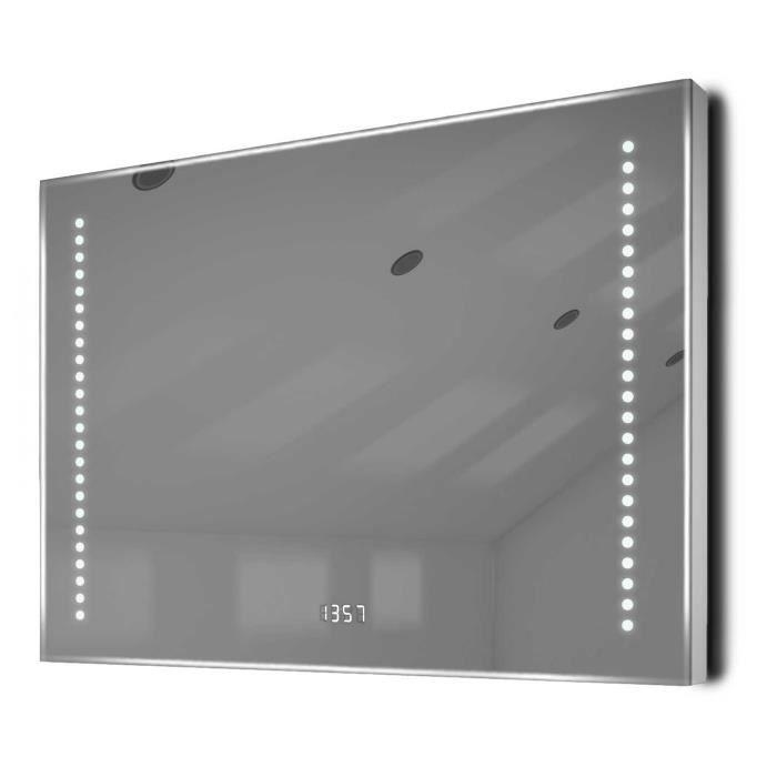 Miroir salle de bain horloge capteur k193 antibu e for Collection miroir