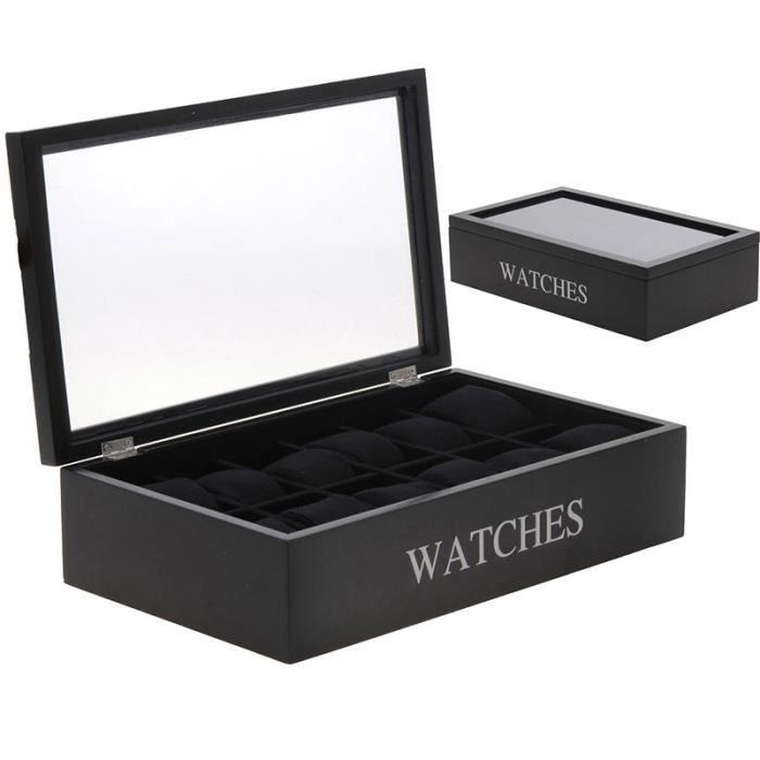 boite coffret de rangement pour 12 montres achat vente. Black Bedroom Furniture Sets. Home Design Ideas