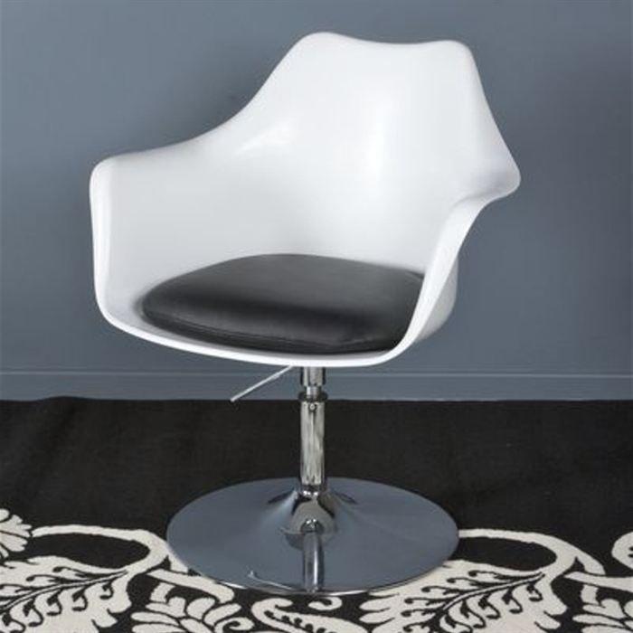fauteuil pivotant king blanc noir achat vente fauteuil polypropylene cdiscount. Black Bedroom Furniture Sets. Home Design Ideas