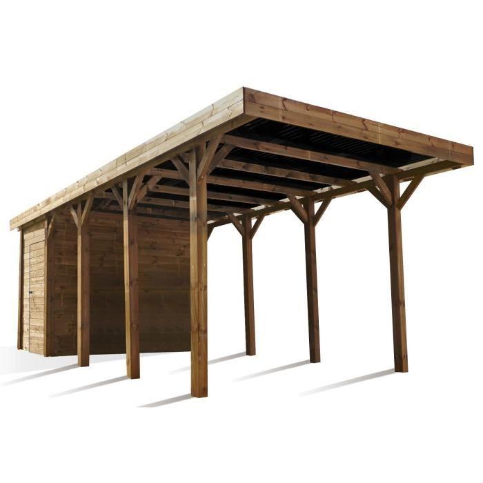 madeira carport autoportant en bois 13m avec rangement 3 5m achat vente carport carport en. Black Bedroom Furniture Sets. Home Design Ideas