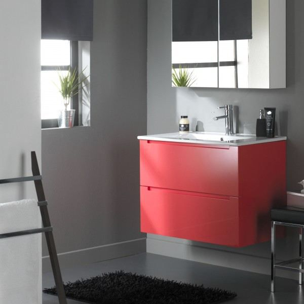 meuble de salle de bain 80 cm 2 tiroirs rouge v achat vente meuble vasque plan 612027. Black Bedroom Furniture Sets. Home Design Ideas