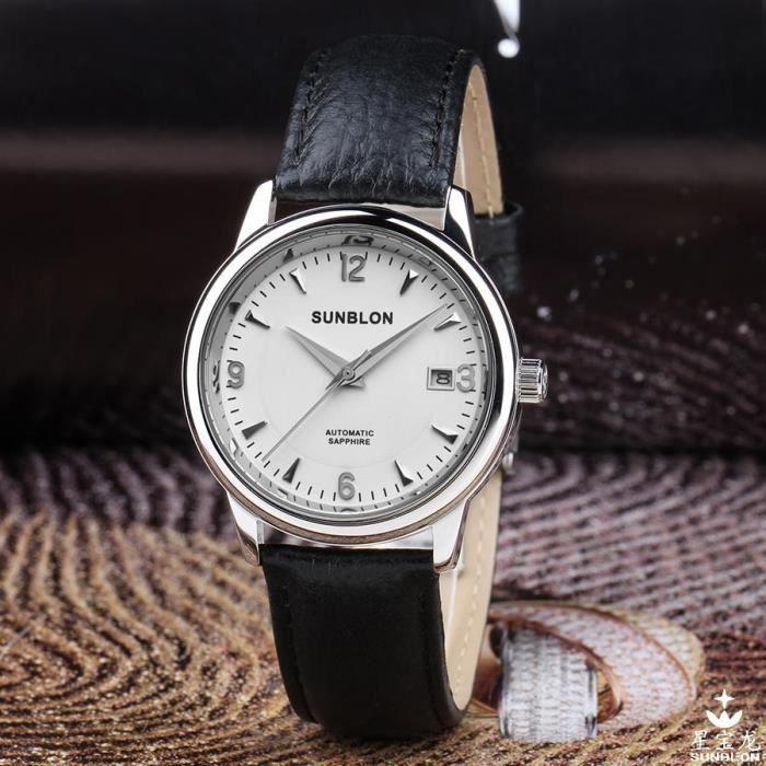 montres hommes cuir montre etanche montre m canique automatique achat vente montre montres. Black Bedroom Furniture Sets. Home Design Ideas