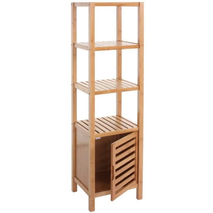 Etag re armoire meuble pour salle de bain en bambou - Meuble bas pour salle de bain ...
