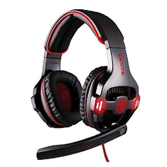 sades sa903 usb gaming headset casque 7 1 surround sound bandeau avec micro noir casque. Black Bedroom Furniture Sets. Home Design Ideas
