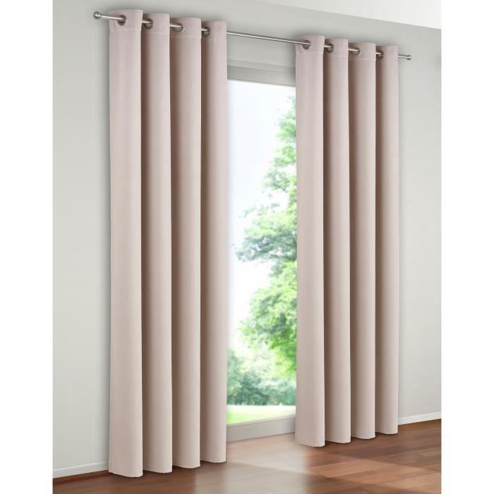 Paire de rideaux rideau occultants couleur beige 140x260 - Maison coloree rideaux ...