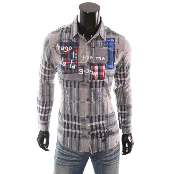 chemise desigual homme andorra gris achat vente chemisier blouse chemise desigual homme. Black Bedroom Furniture Sets. Home Design Ideas