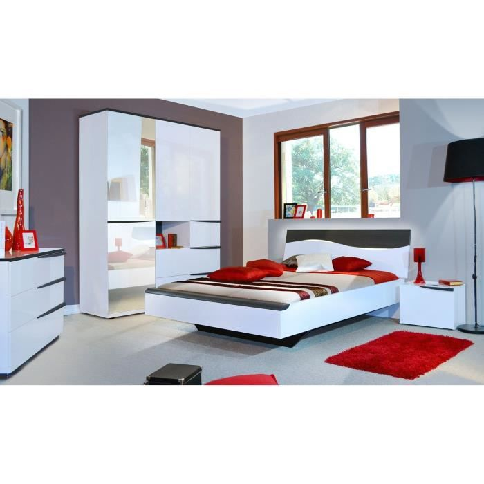 vision lit 180 x 200 laqu blanc d cor gris fonc achat vente structure de lit vision lit. Black Bedroom Furniture Sets. Home Design Ideas