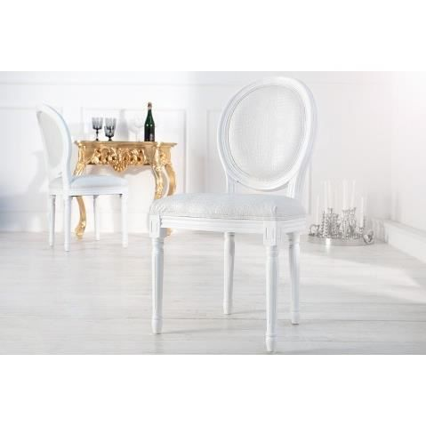 Chaise baroque blanche style croco medaillon achat for Chaise medaillon blanche
