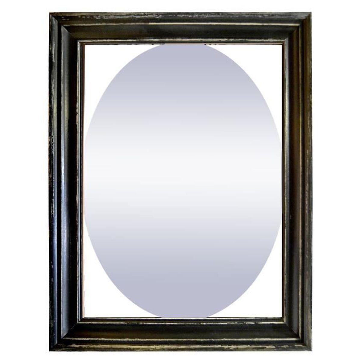 vicky miroir ovale dans un cadre rectangulaire noir