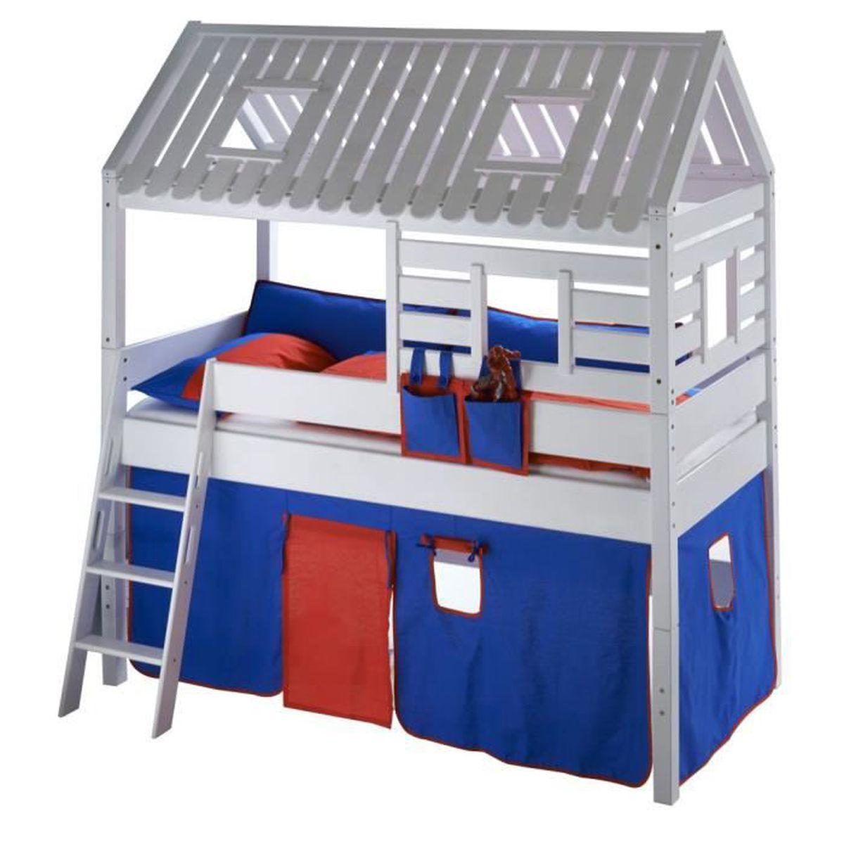 lit sur lev 90x200 cm cabane en h tre massif coloris blanc avec 1 tente en tissu coloris bleu. Black Bedroom Furniture Sets. Home Design Ideas