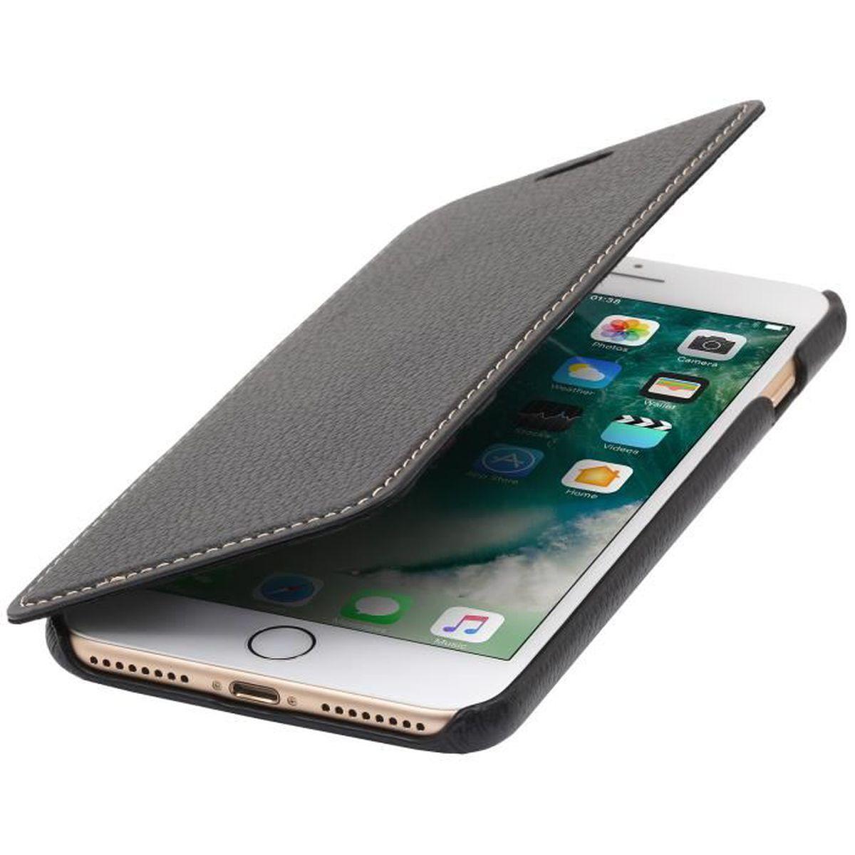 Stilgut booktype housse iphone 7 plus en cuir noir sans for Housse iphone 7 plus cuir