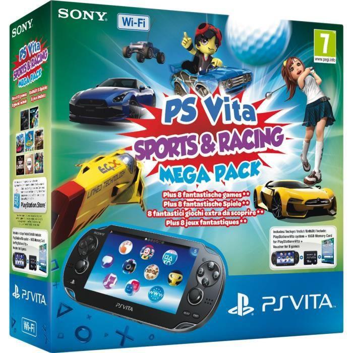CONSOLE PS VITA Pack PSVita WiFi Méga Pack Sport & Course+CM 16 Go
