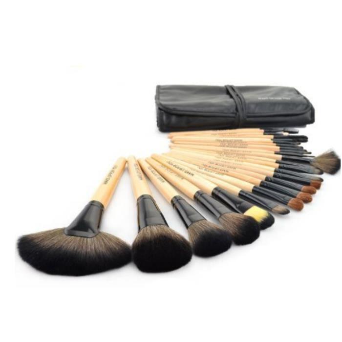 magnifique kit pinceau brosse cosm tique maquillage de 24 pi ces avec pochette imitation cuir. Black Bedroom Furniture Sets. Home Design Ideas