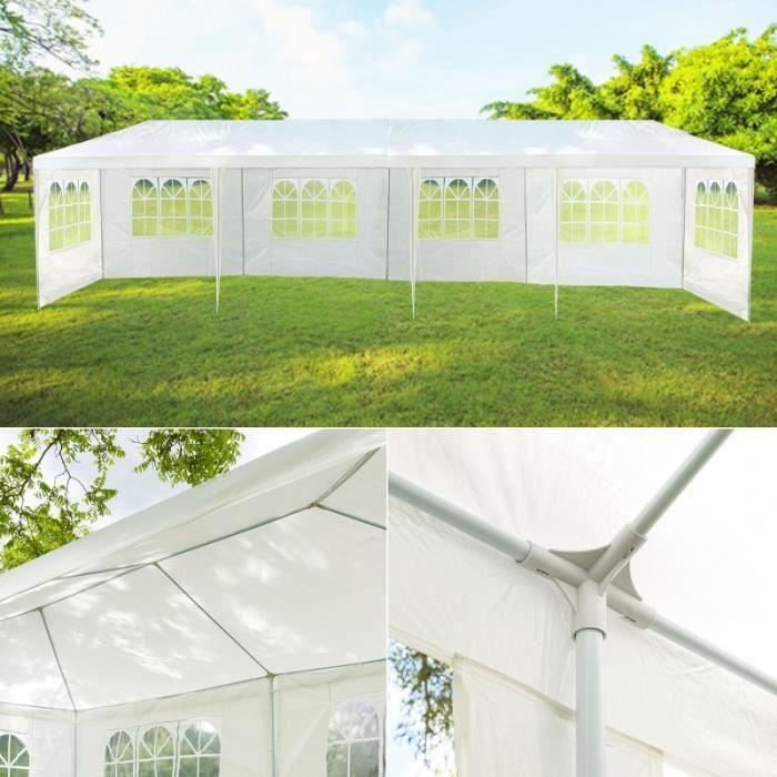 chapiteau 3x12m tente de r ception blanche tonnelle avec 8 c t s achat v. Black Bedroom Furniture Sets. Home Design Ideas