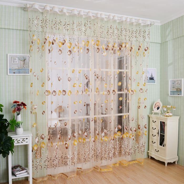 2 pcs d coration de vitrine rideau de fen tre 100cmx200cm for Taille rideau fenetre