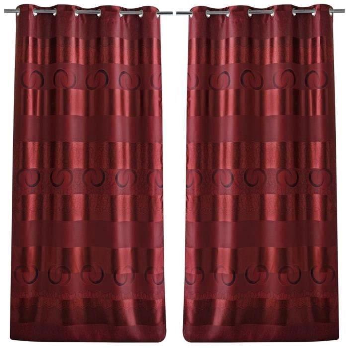 paire de double rideaux occultant ray 140x260cm bordeaux achat vente rideau cdiscount. Black Bedroom Furniture Sets. Home Design Ideas