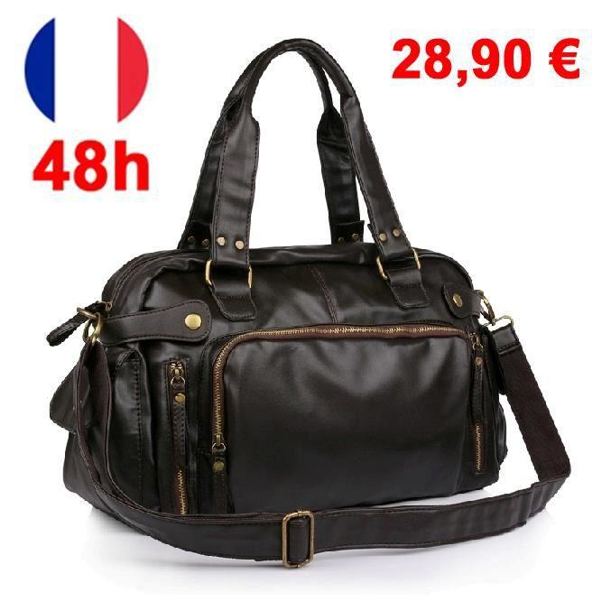 sac 24h look luxe vintage de ville baroudeur prisca marron exclusive chic marron achat vente. Black Bedroom Furniture Sets. Home Design Ideas