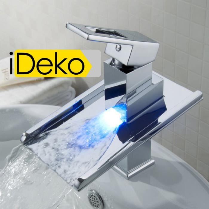 ideko robinet mitigeur lavabo cascade led salle de bain baignoire et cuisine en laiton moderne. Black Bedroom Furniture Sets. Home Design Ideas