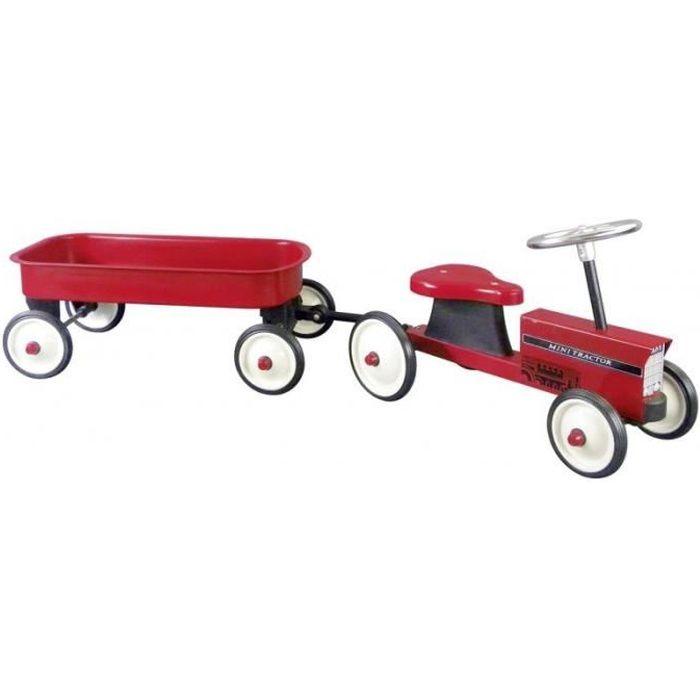 Trotteur tracteur avec remorque amovible achat vente porteur pousseur cdiscount - Tracteur remorque enfant ...
