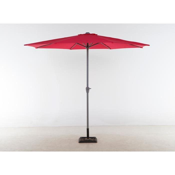 Parasol aluminium rond fidji framboise 3 m achat vente parasol parasol - Parasol chauffant brico depot ...