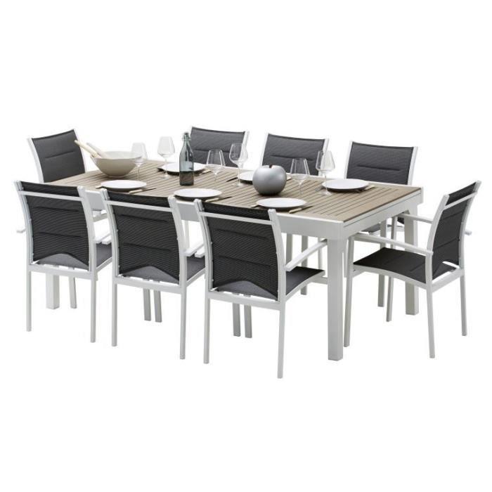 Salon de jardin extensible modulo 8 fauteuils blanc et bois polywood achat - Salon jardin 2 personnes ...