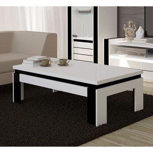 Table de salon blanche laquee achat vente table de - Table basse blanche et noire ...