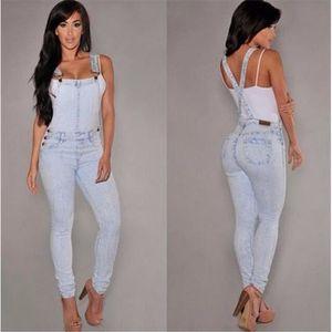 SALOPETTE Jeans Salopette Femme Bleu Clair Pantalon Slim Ori