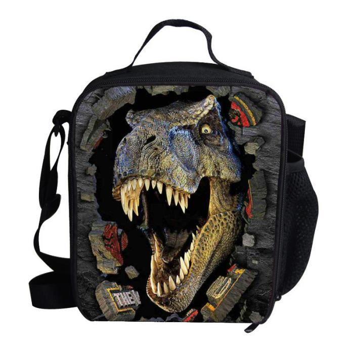 dinosaure impression sac isotherme d jeuner pour enfants gar on noir achat vente sac de. Black Bedroom Furniture Sets. Home Design Ideas