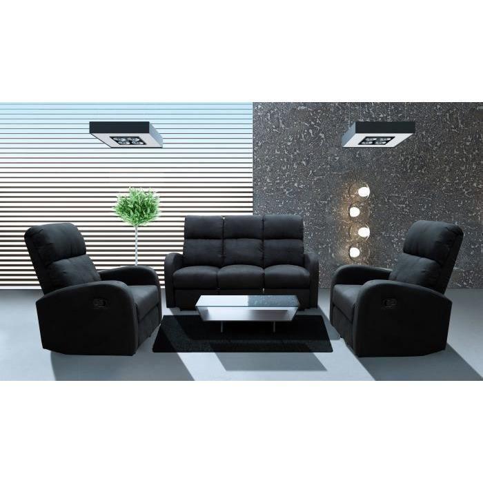 Ensemble canap 2 fauteuils relax noir achat vente canap sofa div - Cdiscount soldes canape ...