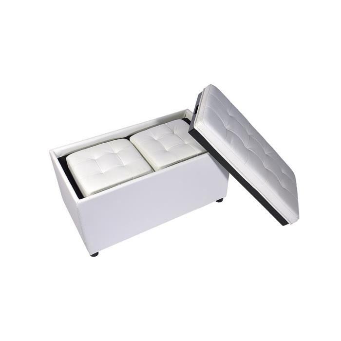 Banquette coffre blanc plateau r versible 2 pouf achat vente banquette - Coffre capitonne blanc ...