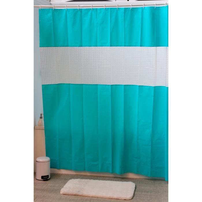 rideau de douche turquoise et blanc bleu achat vente. Black Bedroom Furniture Sets. Home Design Ideas