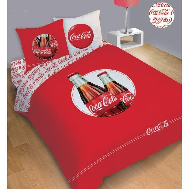 Coca cola parure housse de couette taie 140 cm achat vente parure de couette cdiscount - Housse de couette coca cola ...