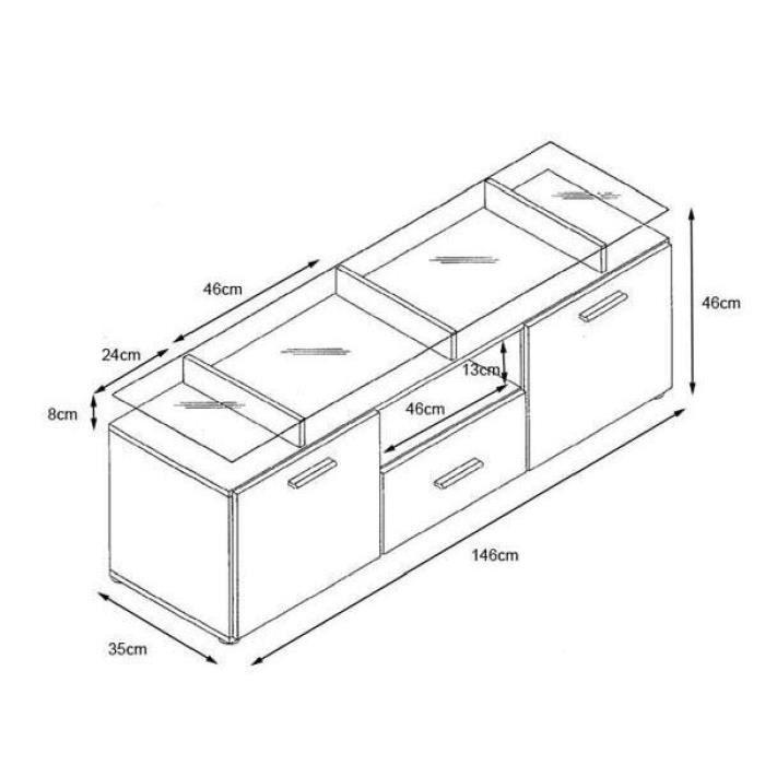 meuble tv noir noir m tallique 146cm achat vente. Black Bedroom Furniture Sets. Home Design Ideas