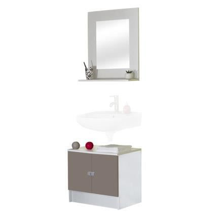 Ensemble meuble sous lavabo miroir tablette coloris for Meuble sous lavabo une porte