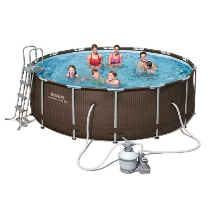 Bestway kit piscine ronde power steel pro frame 427x122cm for Piscine hors sol ultra frame 7 32 x 3 66 m intex