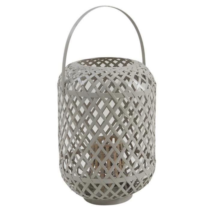 Lanterne exterieur suspendre en bambou gris achat for Lampe exterieur a suspendre