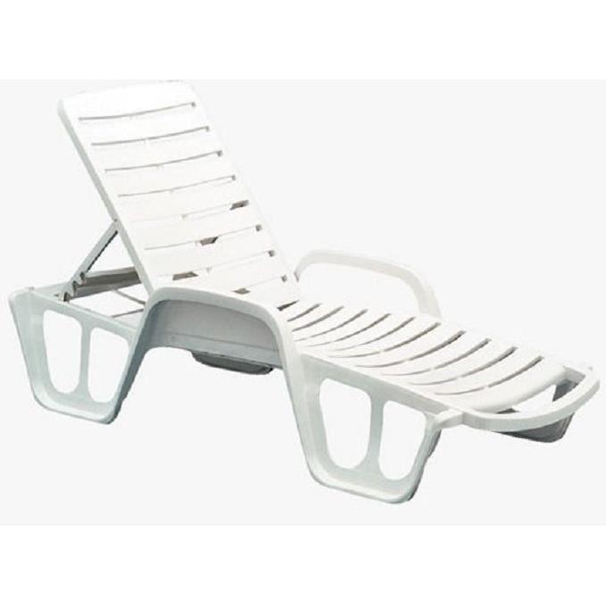 Bain de soleil plastique blanc achat vente bain de for Chaise longue jardin plastique blanc