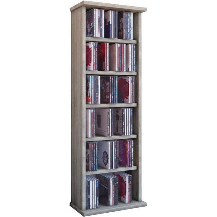 Vostan tour rangement biblioth que cd dvd 150 cd ch ne sonoma sans portes vit - Bibliotheque dvd meuble ...