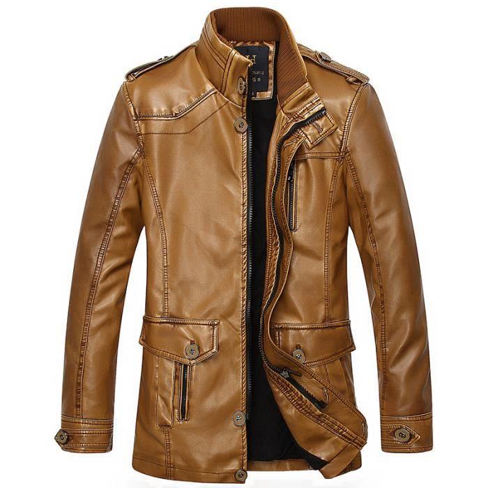 veste homme d 39 hiver pu cuir col manteau tissu doux jaune achat vente veste cdiscount. Black Bedroom Furniture Sets. Home Design Ideas