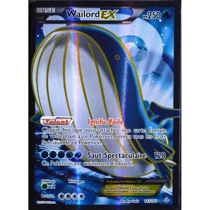 Carte pok mon 147 160 wailord ex 250 pv full art s rie xy achat vente carte a collectionner - Pokemon x wailord ...