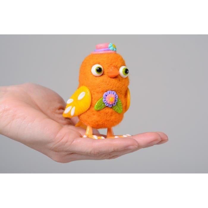figurine oiseau feutr e en laine orange faite main achat vente objet d coratif cdiscount. Black Bedroom Furniture Sets. Home Design Ideas