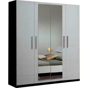 Armoire 4 portes avec miroir central coloris blanc et noir for Armoire noire avec miroir