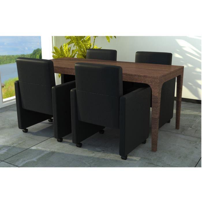4pcs fauteuil chaises roulettes en cuir artificiel de for Fauteuil cuisine design