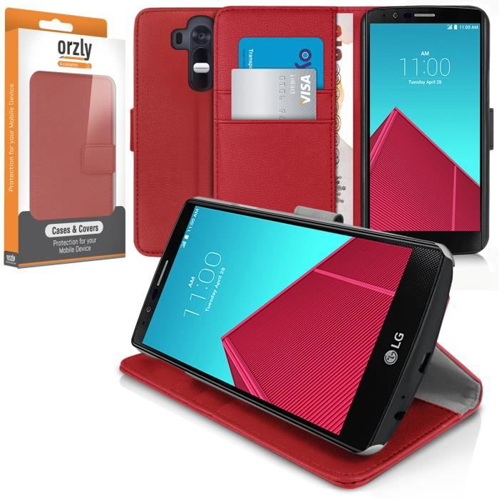 orzly etui lg g4 rouge multifonctions achat housse. Black Bedroom Furniture Sets. Home Design Ideas