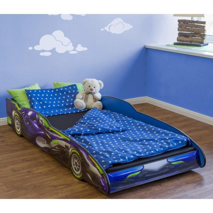 lit enfant voiture de course enfant bleu en bois mdf dim h 35 5 x l 94 x p 211 5 cm achat. Black Bedroom Furniture Sets. Home Design Ideas